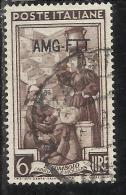 TRIESTE A 1950 AMG - FTT ITALIA ITALY OVERPRINTED ITALIA AL LAVORO LIRE 6 USATO USED OBLITERE' - Gebraucht