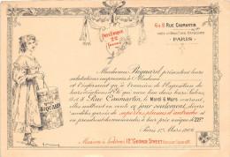 Carte D'Invitation De La Maison BIQUARD, Rue Caumartin PARIS Pour La Présentation De Modèles Garnis De Plumes D'Autruche - Mode