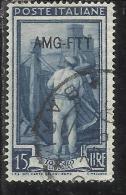 TRIESTE A 1950 AMG - FTT ITALIA ITALY OVERPRINTED ITALIA AL LAVORO LIRE 15 USATO USED OBLITERE' - Gebraucht