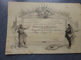 86 CENON-sur-Vienne, Concours De TIR S.A.G. 1923, Tb Diplôme Militaire Illustré, Amirault  ; Ref 748 - Diplomas Y Calificaciones Escolares