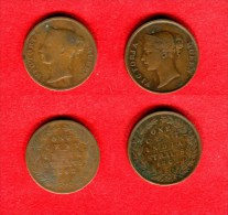 STRAITS SETTLEMENTS - INDIA STRAITS -   VICTORIA - ONE CENT - LOT 2 X 1 CENT 1862 - Malaysie