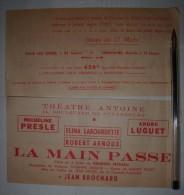 Lot De 2 Tickets Pour « La Main Passe » De Georges FEYDEAU Au Théâtre Antoine (Micheline PRESLES) - 1954 - Tickets D'entrée
