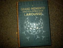 GRAND MEMENTO LAROUSSE ENCYCLOPEDIE Tome 1er B403 - Encyclopédies