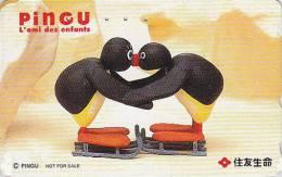 Télécarte Japon - PINGU / Luge - Oiseau Manchot - PENGUIN Bird Japan Phonecard / France - PINGUIN - 2472 - Japan