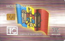 MOLDOVA 75 UNITS FLAG FRONT BUILDING BACK CHIP  EXP.04-99 USED  READ DESCRIPTION !!! - Moldavie