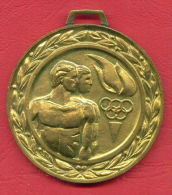 M38 / Olympic Rings TORCH 1st Prize SPARTAKIADE Sports Festival CONSTRUCTION  Medal Medaille Medaille Bulgaria Bulgarie - Jetons En Medailles