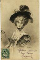 8593 - Illustrateur - E . BOTTARO : BELLE FEMME AU CHAPEAU   Art Déco - Genre Mucha, Kirchner.. - Bottaro