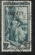 TRIESTE A 1950 AMG - FTT ITALIA ITALY OVERPRINTED ITALIA AL LAVORO LIRE 65 USATO USED - Gebraucht