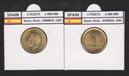 SPAIN /JUAN CARLOS I    1 PESETA  1.980 #80  Aluminium-Bronze  KM#816   Uncirculated  T-DL-9369 - 1 Peseta