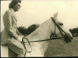 Privat-Aufnahme Motiv Pferd Horse Cheval Schimmel Missouri Mit Frau Dressur 1957 - Sport