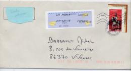2010--lettre  Avec Tp Dragon Issu Du Feuillet De 2004  +Complt Affrt Vignette De Guichet---Toshiba + Cachet Rond - Marcophilie (Lettres)