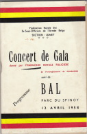 programme officier arm�e harmonie royale polici�re police fanfare bal parc spinoy jumet 1958 102 pages