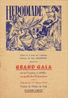 Programme Au Profit Des Prisonniers 19 Mars 1944 à Charleroi Jules Massenet En 4 Pages - Bücher, Zeitschriften, Kataloge