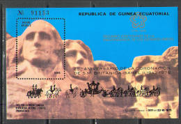 R9707 Coronation QEII Royals Optd 1978 USA Prasidents Guinea Equatorial Silk Print S/s MNH ** RARE 55ME - Royalties, Royals