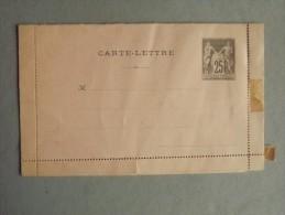 Entier Postal Carte Lettre Type Sage Noir Sur Rose, Abimée En Bas - Ganzsachen