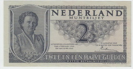Netherlands 1949 2 1-2 Guilder Gulden Queen Juliana (Muntbiljet) - After Wartime Banknotes - XF Condition - 2 1/2 Gulden