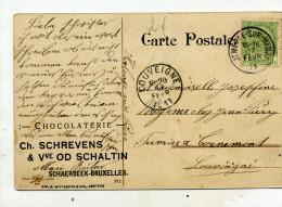 Chocolaterie Schrevens Schaerbeek. CPA 1911 Jemeppe/Sambre Pour Louveigné - Chocolat