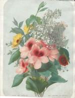 2  Lithographies/ Journal Des Demoiselles / Bouquets De Fleurs /Mme Emeric BOUVRET/vers 1850-1855       GRAV68 - Lithographies