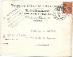 ENVELOPPE-MANUFACTURE SPECIALE DE CUIRS& COURRONS E. SCELLIOS PARIS A MARSEILLE - Commercio