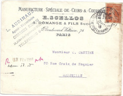 ENVELOPPE-MANUFACTURE SPECIALE DE CUIRS& COURRONS E. SCELLIOS PARIS A MARSEILLE - Non Classificati