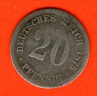 ** 20 Pfennig 1875 F **  KM 5 - Plata / Silver / Silber  - ALEMANIA / DEUTSCHLAND / GERMANY - 20 Pfennig