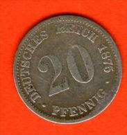 ** 20 Pfennig 1875 D **  KM 5 - Plata / Silver / Silber  - ALEMANIA / DEUTSCHLAND / GERMANY - [ 2] 1871-1918 : Imperio Alemán