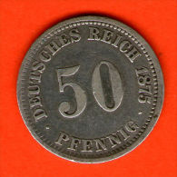 ** 50 Pfennig 1875 J **  KM 6 - Plata / Silver / Silber  - ALEMANIA / DEUTSCHLAND / GERMANY - 50 Pfennig