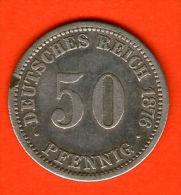 ** 50 Pfennig 1876 A **  KM 6 - Plata / Silver / Silber  - ALEMANIA / DEUTSCHLAND / GERMANY - [ 2] 1871-1918 : Imperio Alemán