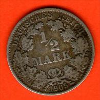 ** 1/2 Mark 1905 E **  KM 17 - Plata / Silver / Silber  - ALEMANIA / DEUTSCHLAND / GERMANY - [ 2] 1871-1918 : Imperio Alemán