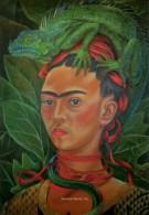 Frida Kahlo Self Portriat Repro Postcard Singapore Cafe Iguana Wily Baet Artist - 18473 - Peintures & Tableaux