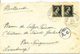 """1940 Brief  Van Korbeek-Loo """"Par Fauquemont""""(Valkenburg) Nl Met PZ480(paar) Zie Scan(s) - 1936-1957 Col Ouvert"""