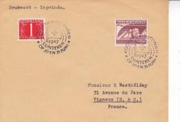 LETTRE PAYS BAS -AFFRANCHIE N° 431 ET 457 OBLITERATION SPECIALE CROIX ROUGE -1947 - Poststempels/ Marcofilie