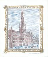 CARTE PORCELAINE  - Carte Illustrée Hotel De Ville De BRUXELLES - Litho 1844 --  C2/173 - Tarjetas De Visita