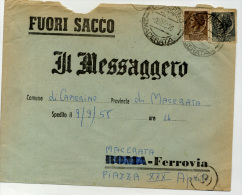 Storia Postale Italia Italy Busta Furoi Sacco Da Camerino 9.10.59 Per Macerata - 1946-.. République