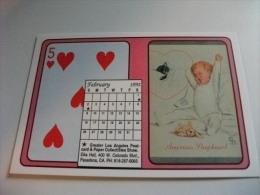 Carta Da Gioco 5 Di Cuori Bambino Con Gatto  Febbraio 1992 - Carte Da Gioco