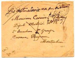 """82-Tarn Et Garonne / Enveloppe De VILLECOMTAL Pour MONTAUBAN : """"Le Destinataire N'a Pu être Atteint"""" """"REBUT"""" Cachet 0 ? - Bolli Manuali"""