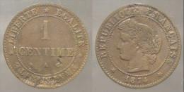 France  Francia  1  Centime 1874  A  Ceres  TB - Francia
