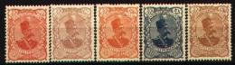 IRAN 1899 - Shah Mouzaffer-ed-Din. 5 unused copies.