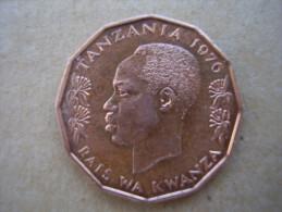 TANZANIA 1976 FIVE CENTS NYERERE Nickel-brass USED COIN. - Tanzania