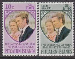 PITCAIRN Is, 1973 ROYAL WEDDING 2 MNH - Francobolli