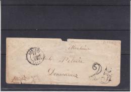 France - Lettre De 1852 - Oblitération Lorient - Taxée De 25c à Douarnez - Marcophilie (Lettres)