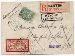 1925 - LETTRE COMMERCIALE RECOMMANDEE De PANTIN (PARIS) Pour BOBIGNY (AISNE) REEXPEDIEE - Postmark Collection (Covers)