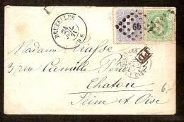 Nrs. 30 En 31 Op Brief Verstuurd Te BRUSSEL / BRUXELLES Dd. 24/7/1871 Naar CHATOU ( FRANKRIJK / FRANCE ) Met PD ! - 1869-1883 Leopold II.