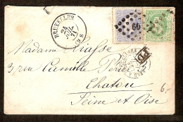 Nrs. 30 En 31 Op Brief Verstuurd Te BRUSSEL / BRUXELLES Dd. 24/7/1871 Naar CHATOU ( FRANKRIJK / FRANCE ) Met PD ! - 1869-1883 Léopold II