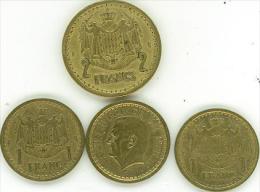 PRINCIPATO DI MONACO  LUIGI II° 1 MONETA DA 2 FRANCS E 3 MONETE DA 1 FRANCO DEL 1945 ALLUMINIO E BRONZO - 1922-1949 Luigi II