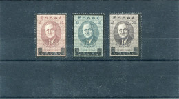 """1945-Greece- """"Franklin D.Roosevelt"""" Complete Set MH - Greece"""