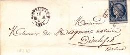 1851 - DROME - CERES Sur LETTRE De MONTELIMAR Avec GRILLE Pour DIEULEFIT - IND10 - Storia Postale