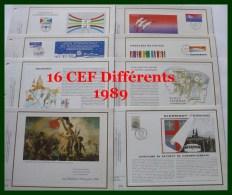 16 CEF 1989..( Dt 1 Vœux ).....2 SCANS - Documentos Del Correo