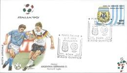 ARGENTINA- GERMANIA O. - FINALE- ROMA 8-7-1990  - BUSTA  UFFICIALE  ITALIA 90 - Copa Mundial