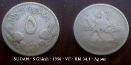 SUDAN - 5 Ghirsh - 1956 - VF - KM 34.1 - Agouz - Soudan